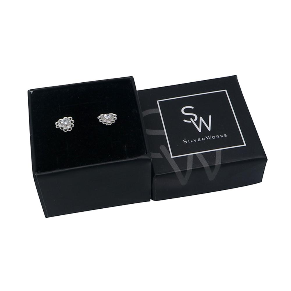 Niccele Heart Silver Stud Earrings with Cubic Zirconia Box Packaging