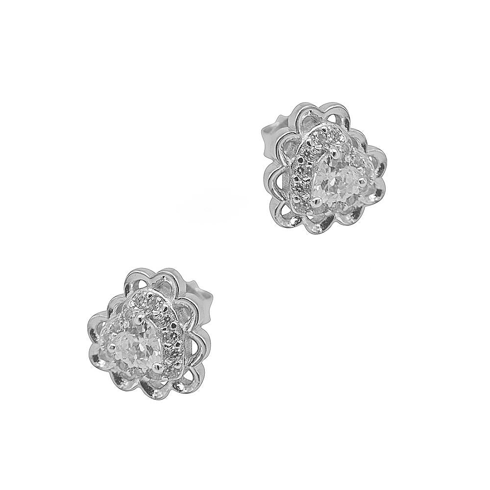 Niccele Heart Silver Stud Earrings with Cubic Zirconia 2