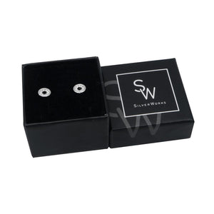Natalie Sparkling Circle Silver Stud Earrings Box Packaging