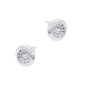 Natalie Sparkling Circle Silver Stud Earrings
