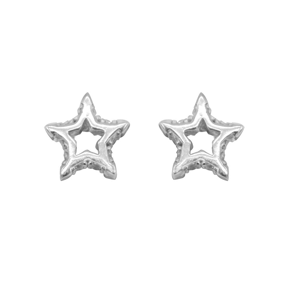 Nerice Open Star Silver Stud Earrings with Cubic Zirconia