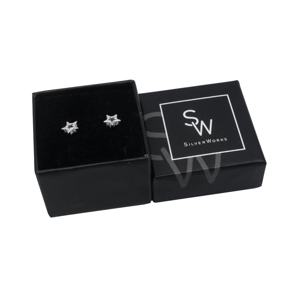 Nerice Open Star Silver Stud Earrings with Cubic Zirconia Box Packaging