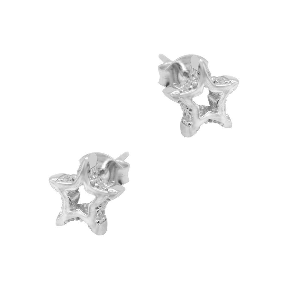 Nerice Open Star Silver Stud Earrings with Cubic Zirconia 2