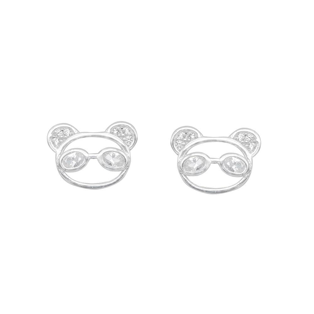 Norris Panda Silver Stud Earrings with Cubic Zirconia
