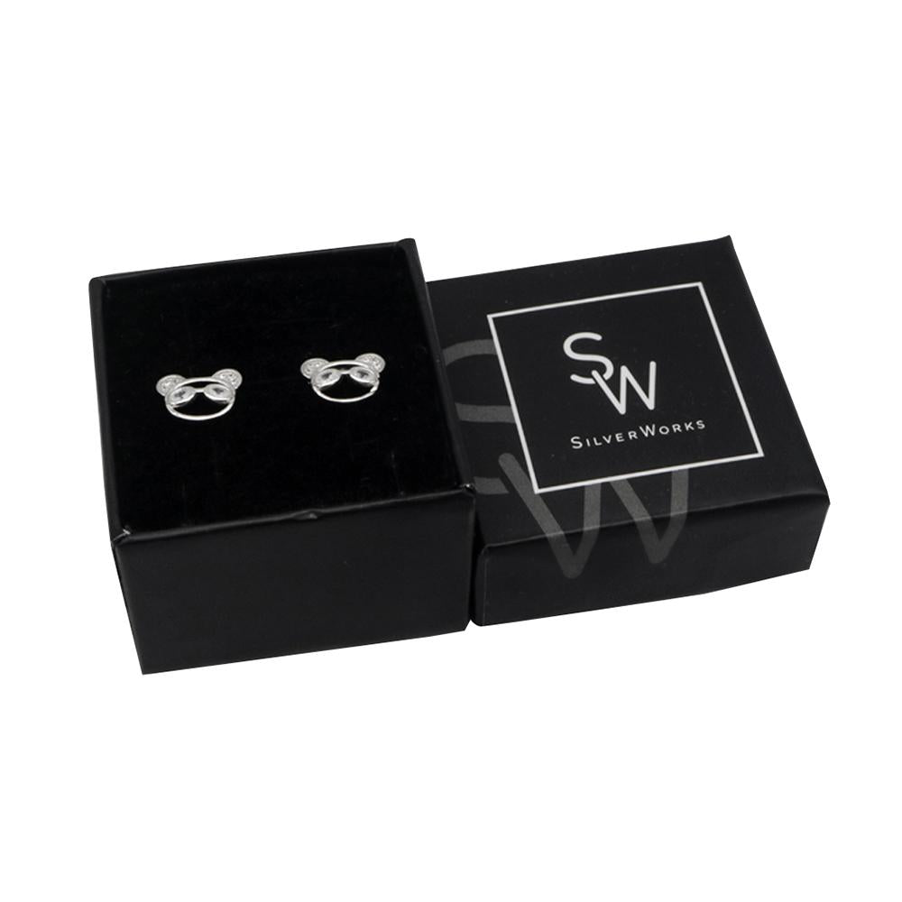 Norris Panda Silver Stud Earrings with Cubic Zirconia Box Packaging