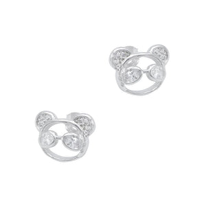 Norris Panda Silver Stud Earrings with Cubic Zirconia 2