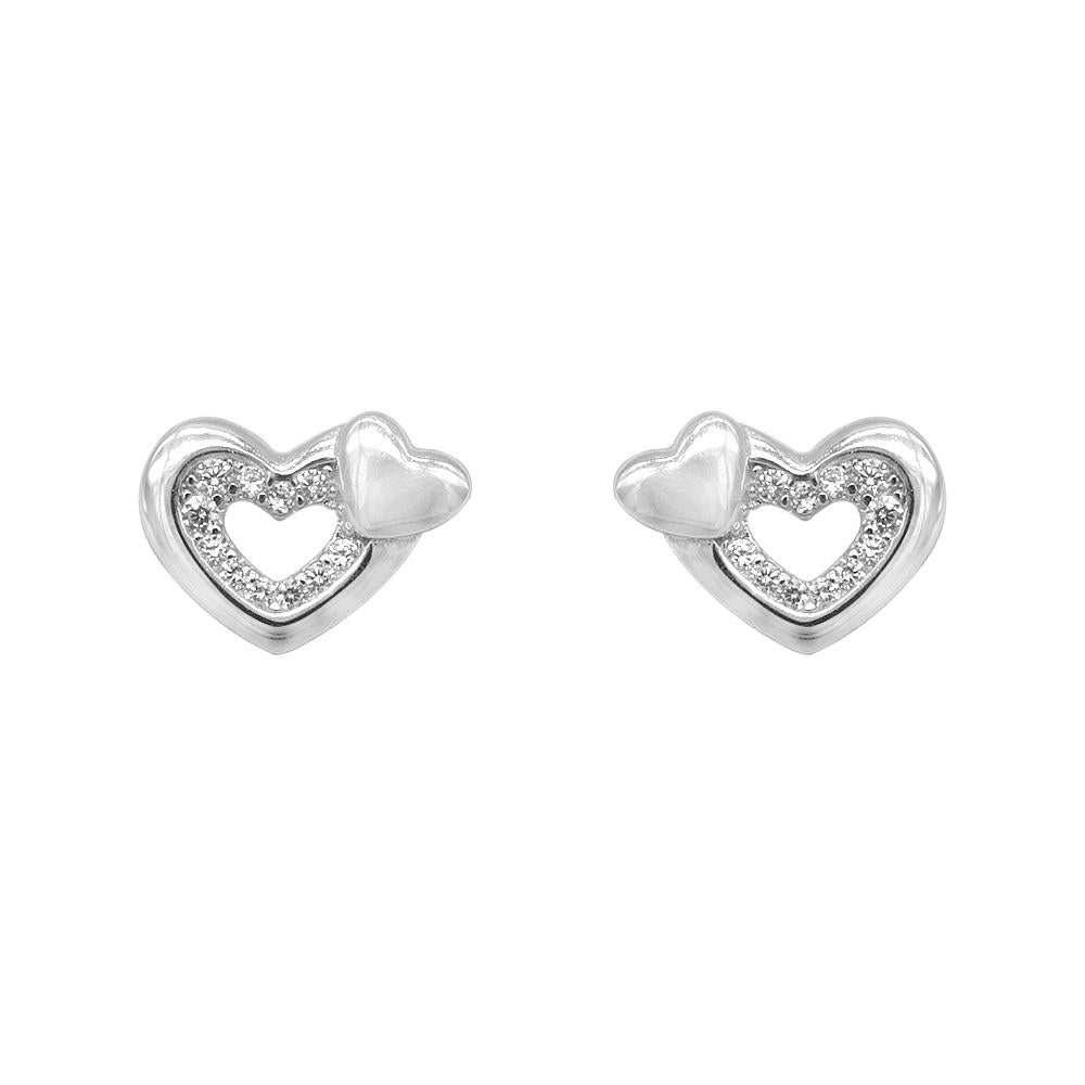 Load image into Gallery viewer, Nizana Two Heart Silver Stud Earrings Women with Cubic Zirconia