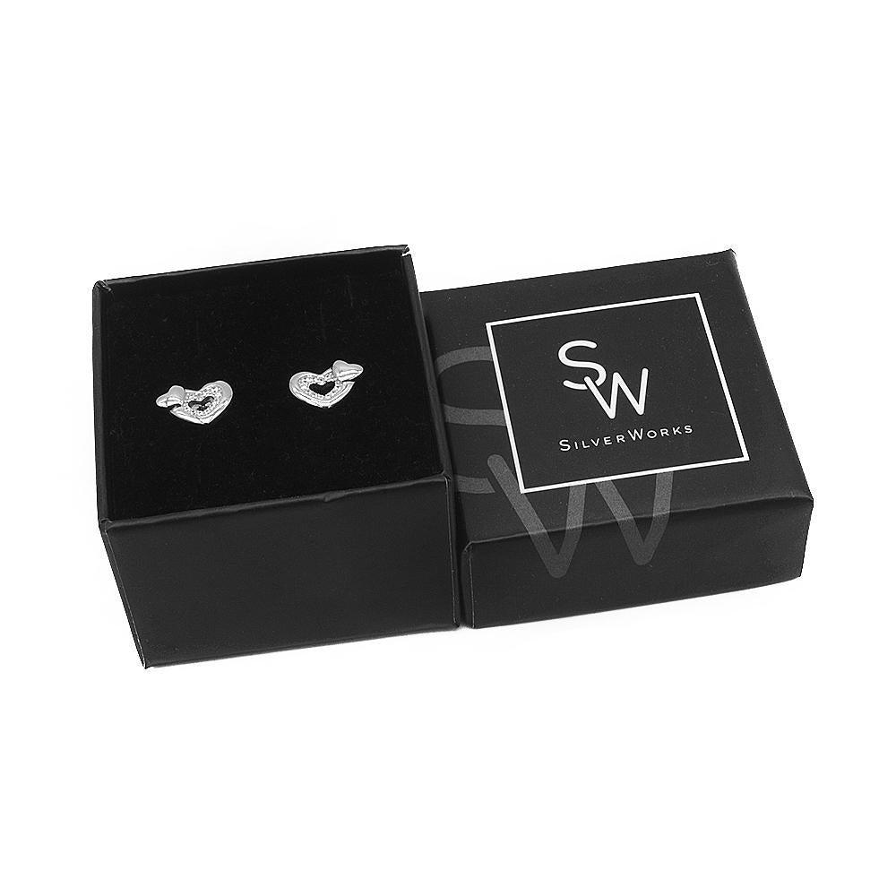 Nizana Two Heart Silver Stud Earrings Women with Cubic Zirconia Box Packaging