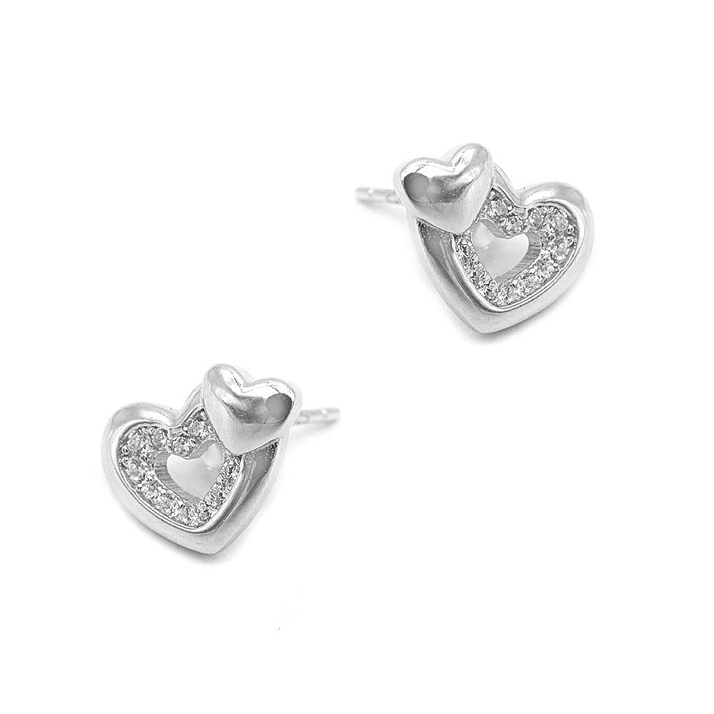 Nizana Two Heart Silver Stud Earrings Women with Cubic Zirconia 2