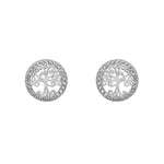 Nevina Tree of Life Silver Stud Earrings with Cubic Zirconia