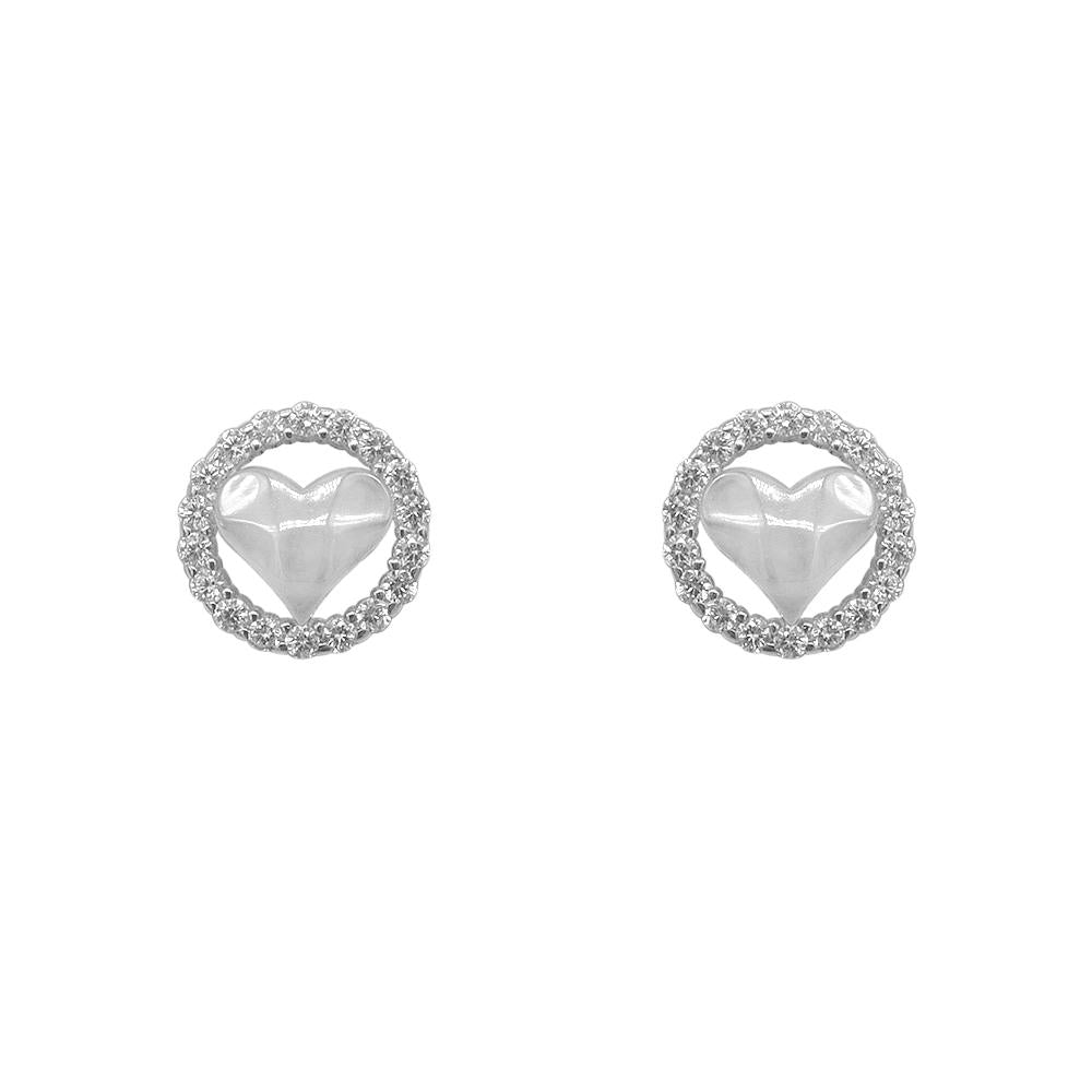 Nataniela Hammered Heart Silver Stud Earrings for Women with Cubic Zirconia