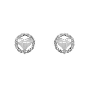 Load image into Gallery viewer, Nataniela Hammered Heart Silver Stud Earrings for Women with Cubic Zirconia
