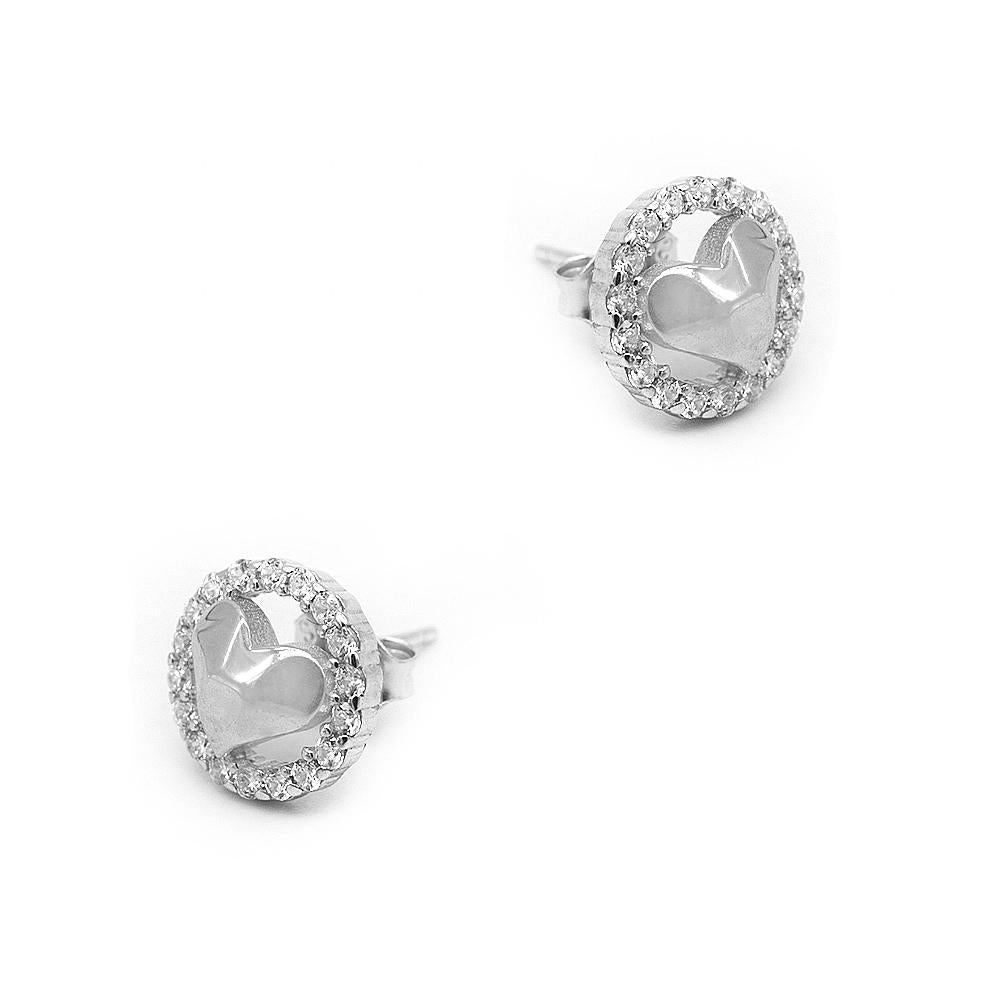 Load image into Gallery viewer, Nataniela Hammered Heart Silver Stud Earrings for Women with Cubic Zirconia 2