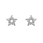 Neorah Abstract Star Silver Stud Earrings with Cubic Zirconia