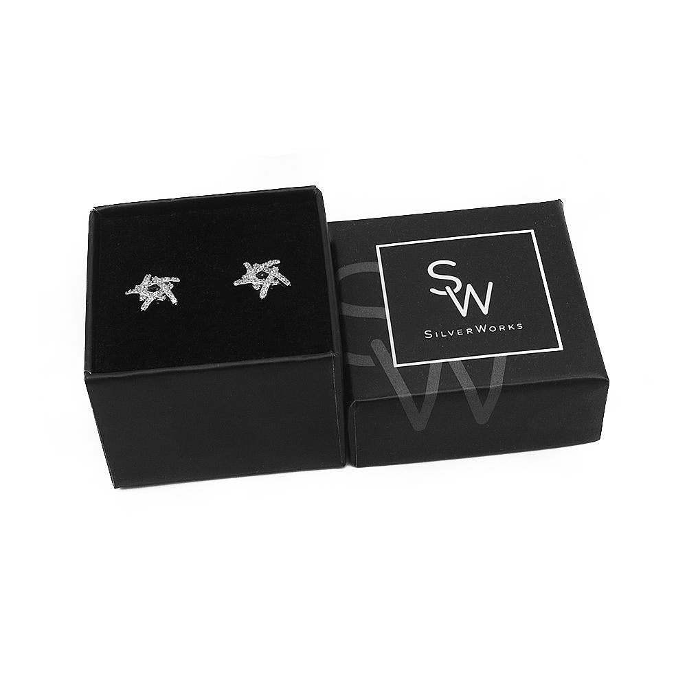 Neorah Abstract Star Silver Stud Earrings with Cubic Zirconia Box Packaging