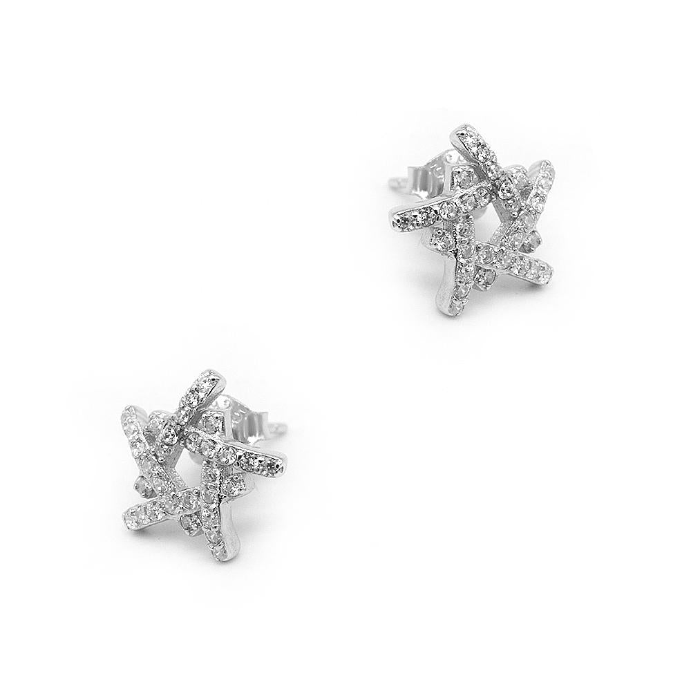 Neorah Abstract Star Silver Stud Earrings with Zirconia 2