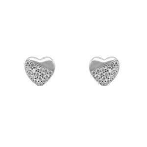 Nickan Half Pave Heart Silver Stud Earrings for Women with Cubic Zirconia
