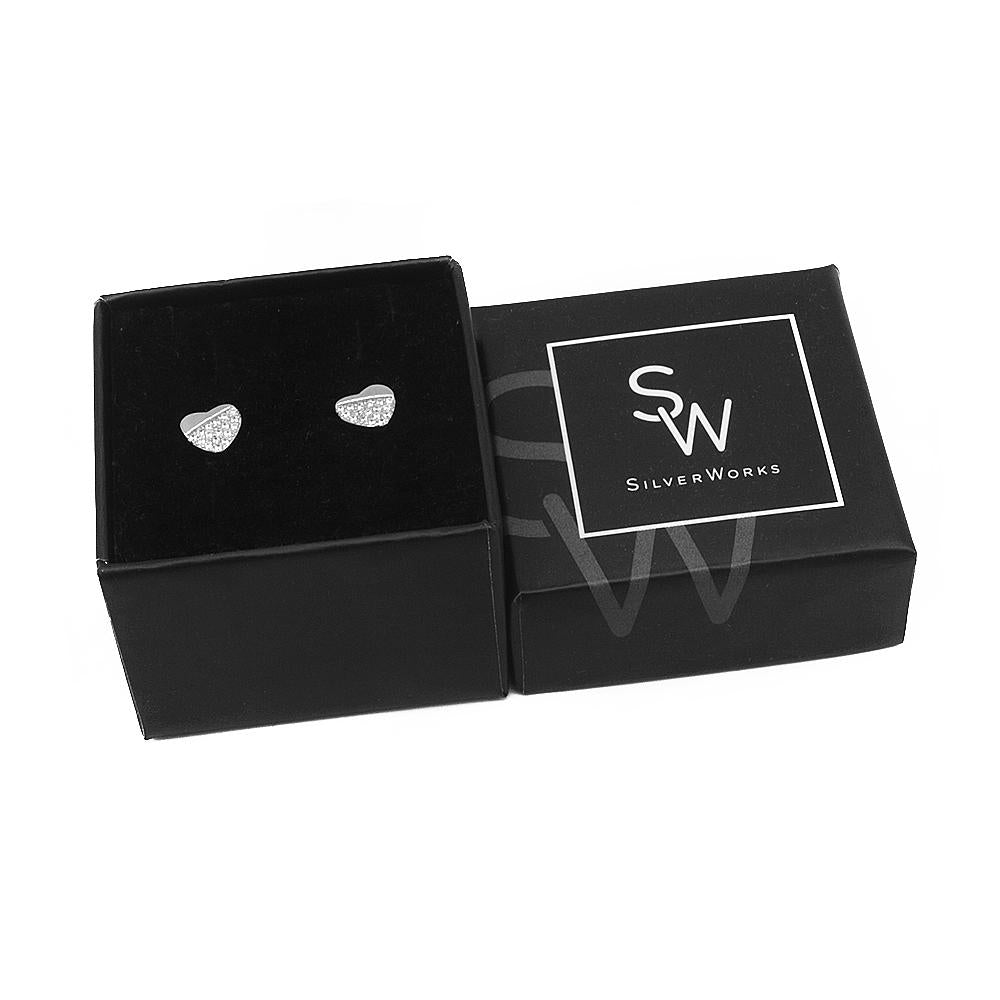 Load image into Gallery viewer, Nickan Half Pave Heart Silver Stud Earrings for Women with Cubic Zirconia Box Packaging