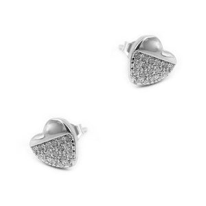Nickan Half Pave Heart Silver Stud Earrings for Women with Cubic Zirconia 2