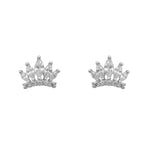 Normandy Crown Silver Stud Earrings Women with Cubic Zirconia