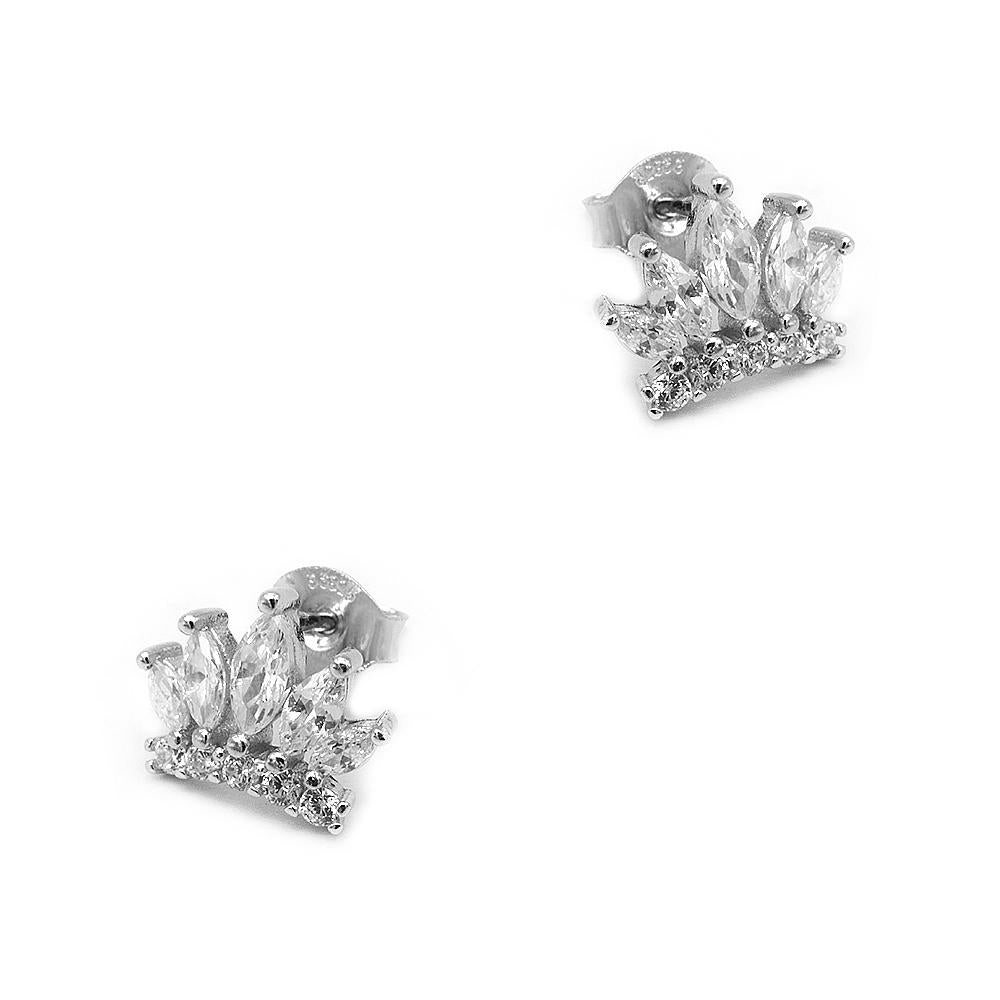 Normandy Crown Silver Stud Earrings Women with Cubic Zirconia 2