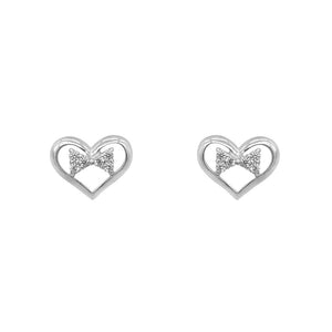 Nida Heart Silver Stud Earrings with Ribbon with Cubic Zirconia