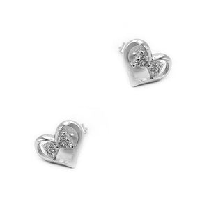 Nida Heart Silver Stud Earrings with Ribbon with Cubic Zirconia 2