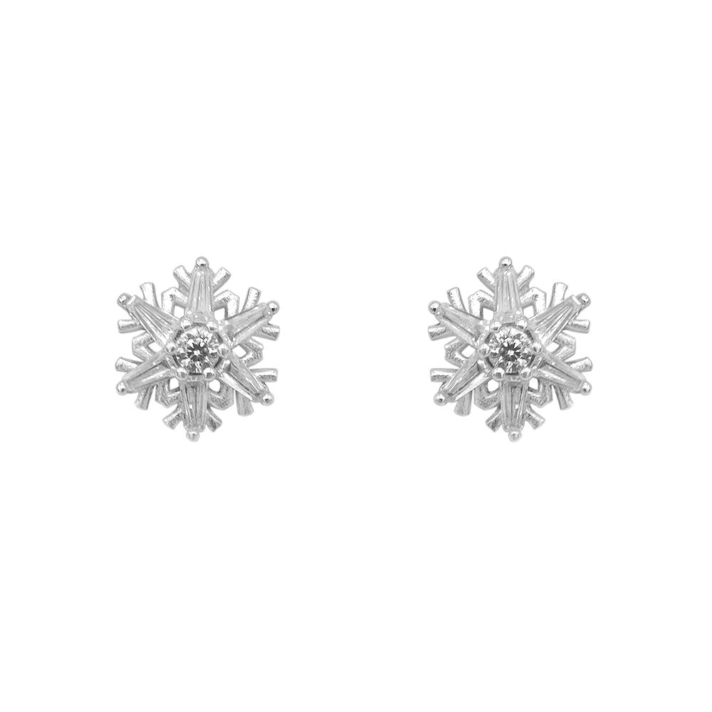Neneth Silver Snowflakes Stud Earrings with Cubic Zirconia