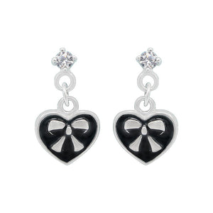 Nazli Ribbon Heart Silver Dangling Earrings with Cubic Zirconia