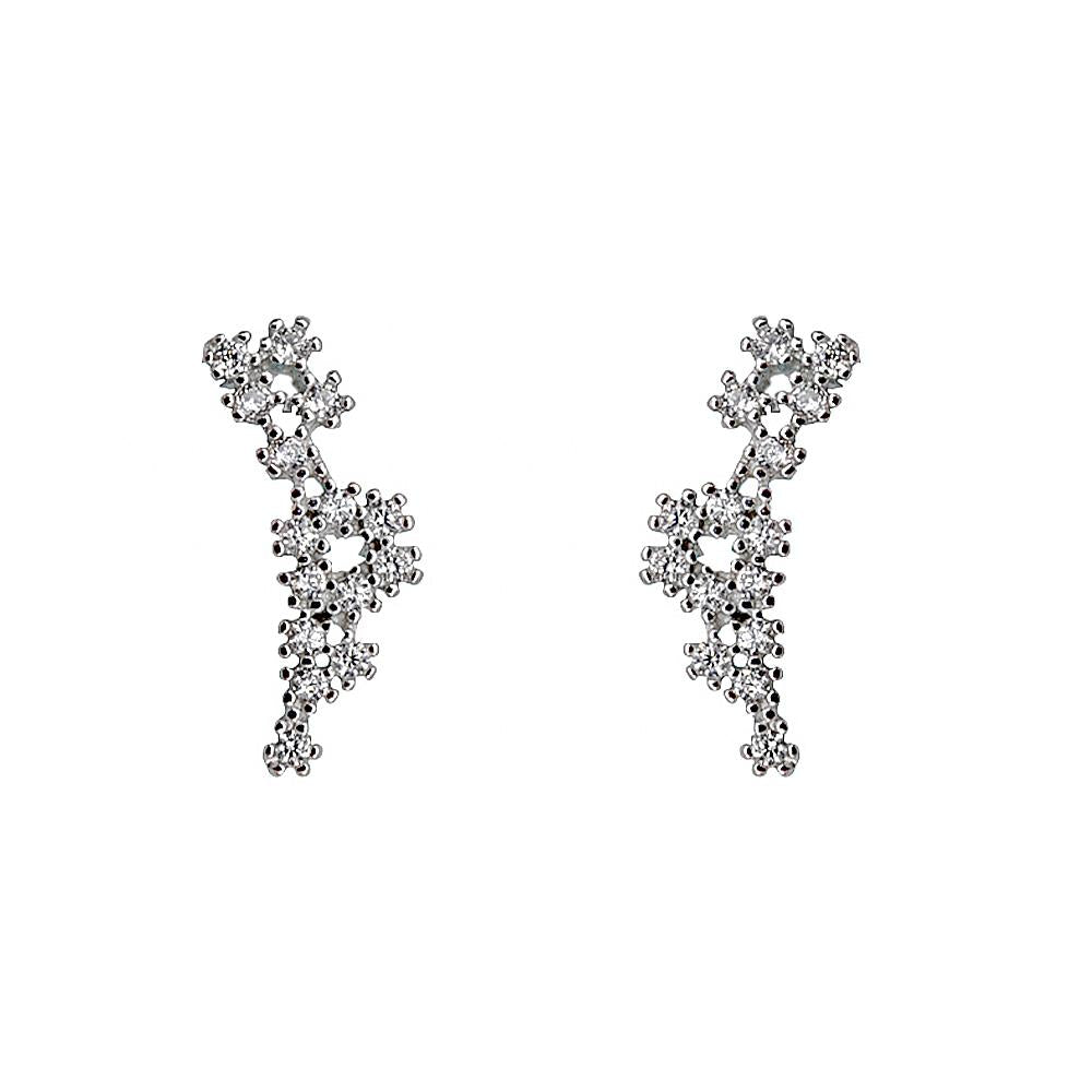 Maleah Flower Vine Silver Stud Earrings