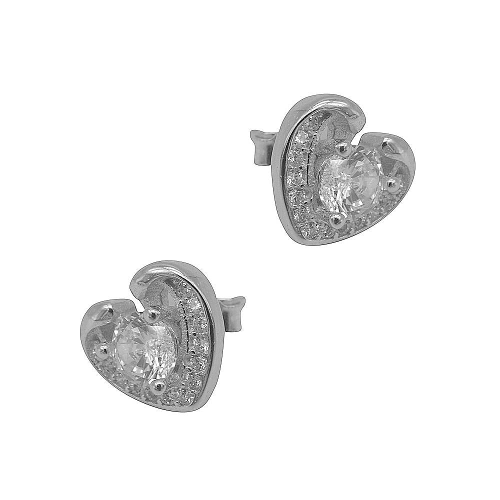Mira Heart Silver Stud Earrings with Round Cubic Zirconia