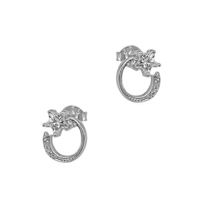 Maisie Moon and Star Silver Stud Earrings