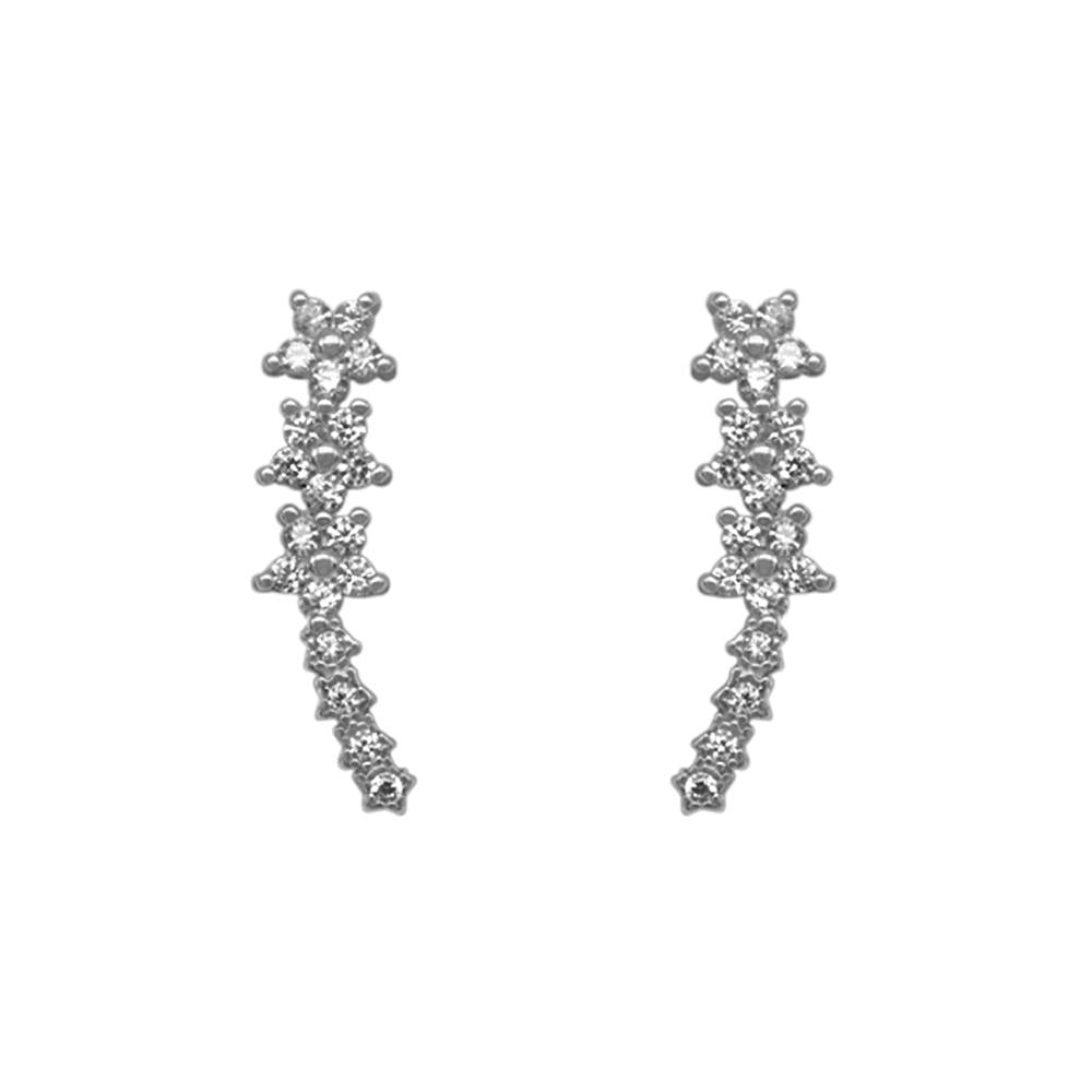 Monica Flower Ear Climber Silver Stud Earrings