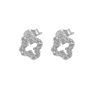 Marilyn Open Clover Silver Stud Earrings