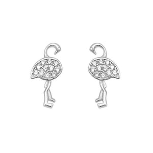 Load image into Gallery viewer, Malany Flamingo Silver Stud Earrings