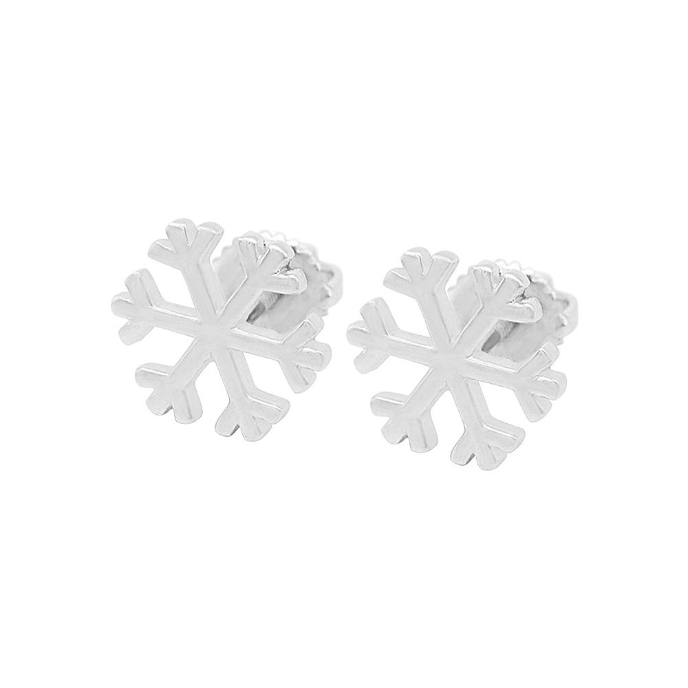 Load image into Gallery viewer, Madisyn Snowflakes Silver Stud Earrings