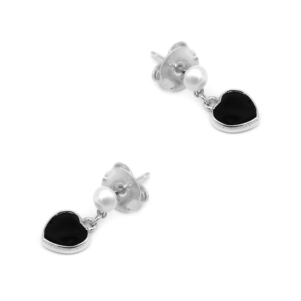 Load image into Gallery viewer, Naveena Black Heart Silver Stud Earrings with Pearls