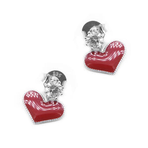 Nathaira Red Heart Silver Stud Earrings with Zirconia Stones