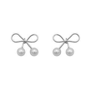 Narda Ribbon Silver Stud Earrings with Pearls