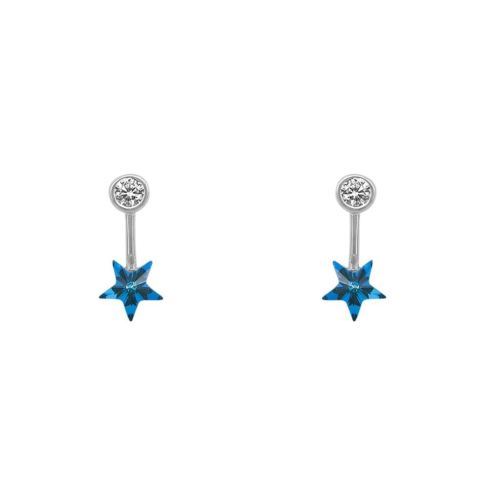 Load image into Gallery viewer, Martha Blue Star Drop Silver Earrings