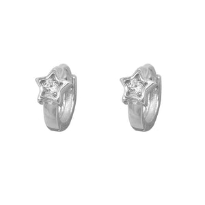 Niabi Star Silver Huggies Earrings with Zirconia Stones