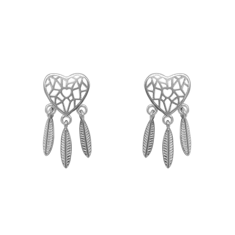 Majesty Heart Dreamcatcher Silver Stud Earrings