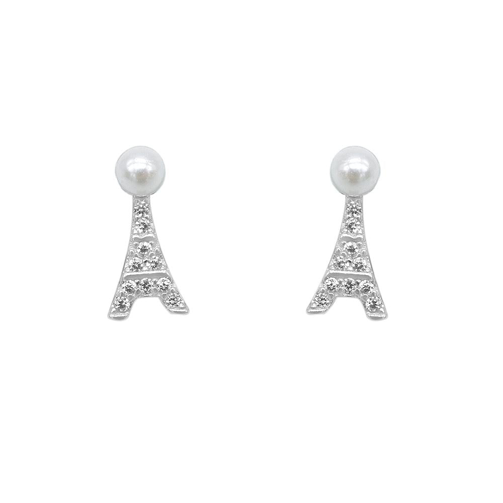 Neylan Eiffel Tower Silver Stud Earrings with Pearl and Zirconia Stones