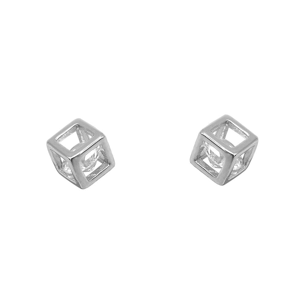 Nikita Sphere in Cube Silver Stud Earrings with Cubic Zirconia