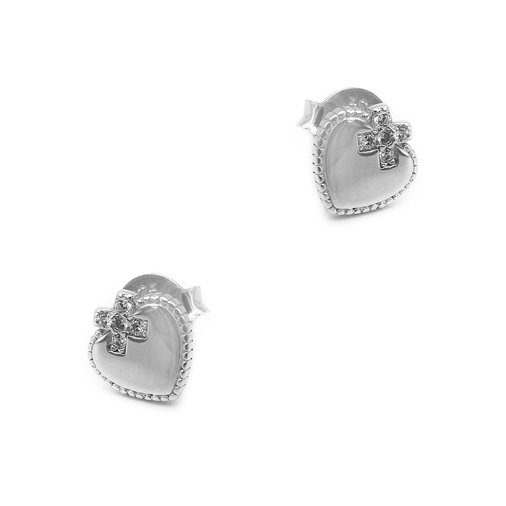 Load image into Gallery viewer, Malka Heart with Ribbon Silver Stud Earrings