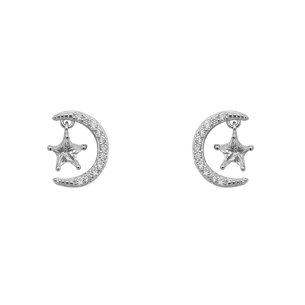 Melania Pave Crescent Moon Silver Stud Earrings