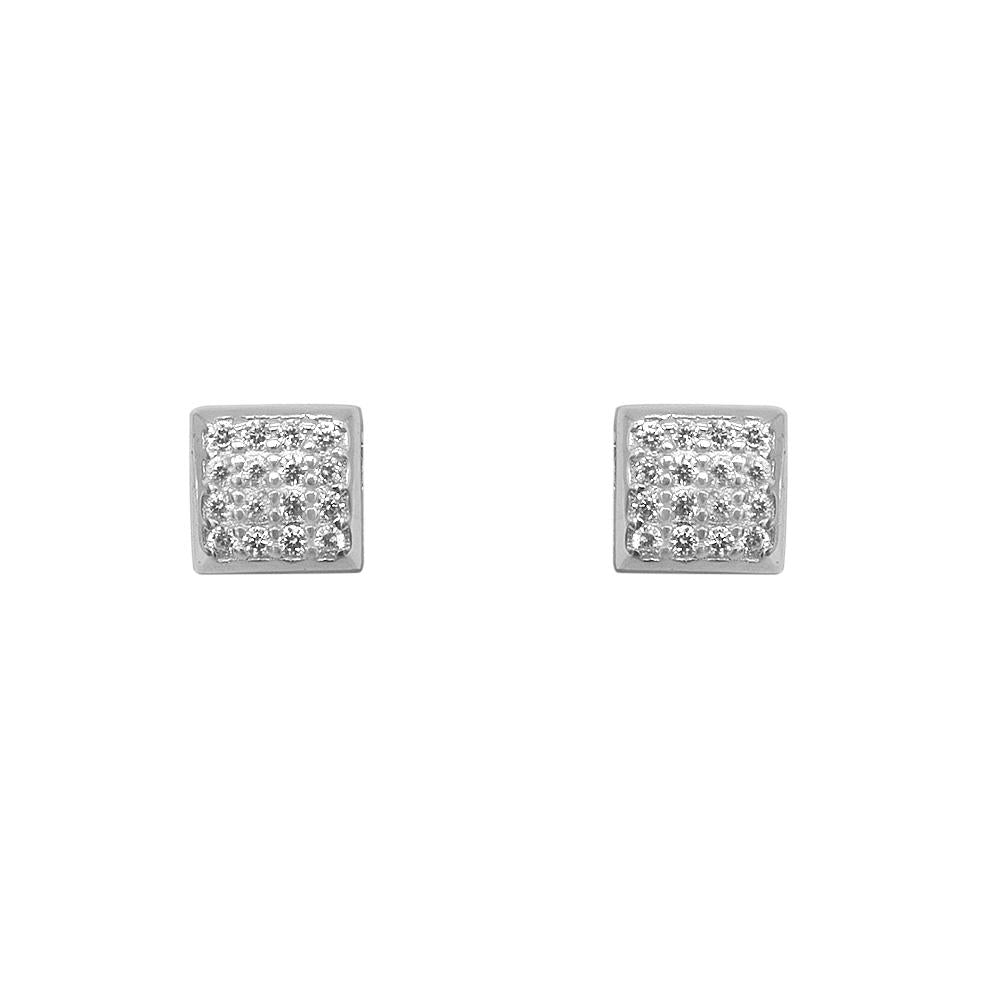 Nelda Pave Square Silver Stud Earrings with Zirconia Stones
