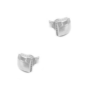 Neith Hammered Square Silver Stud Earrings