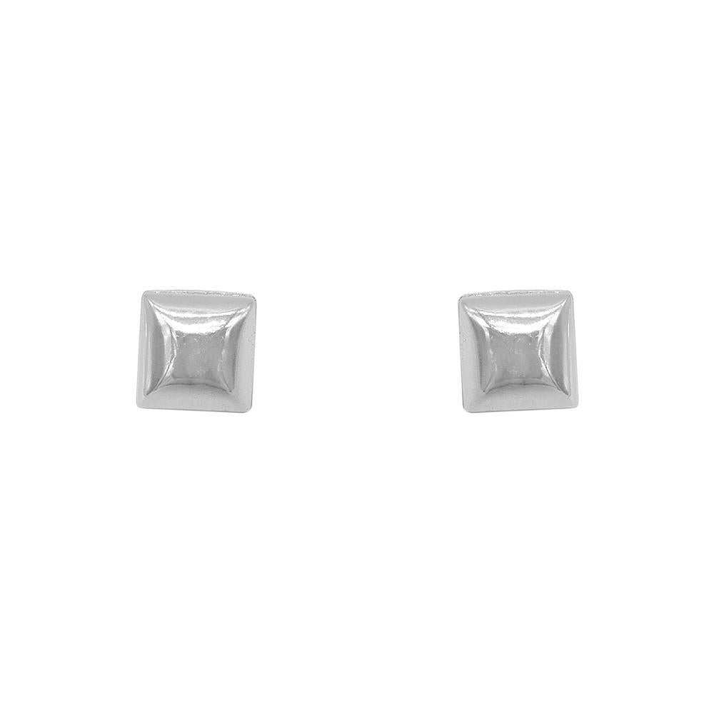 Nefertiti Polished Square Silver Stud Earrings