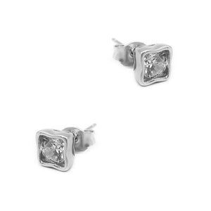 Neenah Bent Square Silver Bezel Earrings with Zirconia Stones